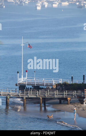 A woman playing with a dog on the beach early morning  in Newport Harbor Orange County California USA - Stock Photo