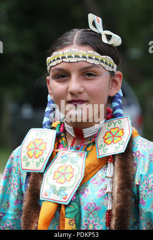 NEW YORK - JULY 29, 2018: Unidentified Young Native American during 40th Annual Thunderbird American Indian Powwow - Stock Photo