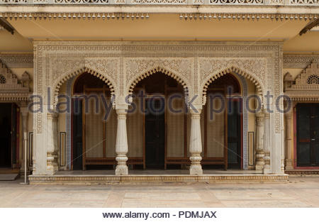 This complex was the seat of the Maharaja of Jaipur, the head of the Kachwaha Rajput clan. The Chandra Mahal palace now houses a museum but the greate - Stock Photo