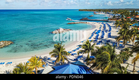Aerial shot with Mavicpro Drone of unique beautiful  beach on Caribbean Island of Princess Cays Bahamas - Stock Photo