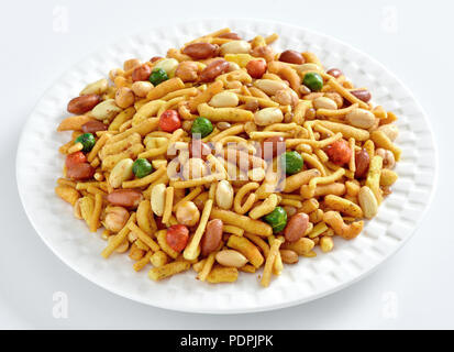 Mix Nimco, delicious blend of nuts, sev and crackers - Stock Photo