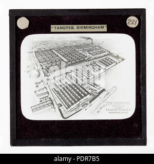 77 Lantern Slide - Tangyes Ltd, Aerial View of Cornwall Works, Birmingham, England, circa 1909 - Stock Photo