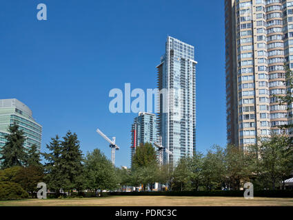 Condo towers in the Metrotown area of Burnaby, BC, Canada.  High rise apartment buildings in Greater Vancouver, Canada. - Stock Photo