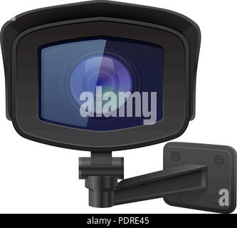 CCTV security camera. Front view. Black surveillance system - Stock Photo
