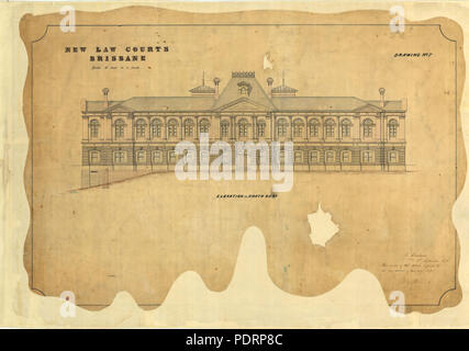 119 Queensland State Archives 5346 Architectural drawing of the New Law Courts elevation to North Quay George Street Brisbane 1 September 1875 - Stock Photo