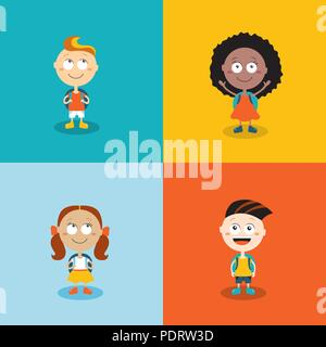 4c04754249 ... Cute kids ready go back to school. Cartoon characters set - Stock Photo