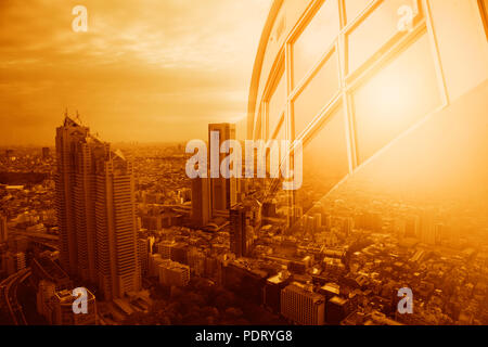 Office building windows and city view in heatwave summer season high temperature from global warming effect - Stock Photo