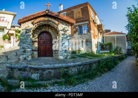 Sozopol, Bulgaria - September 11, 2016: Fisheye street view of Sozopol old town - Stock Photo