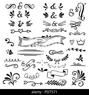 Floral and graphic  design elements with ampersands.Vector set - Stock Photo