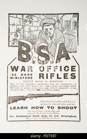 An old advert for BSA .22 calibre rifles. From a magazine from the 1914-1918 period. England Uk GB - Stock Photo