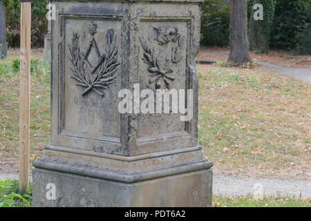 Gravestone With Masonic Symbols On The Old Protestant Cemetery