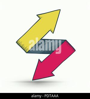 Two way arrows up and down directions consisting drawing style. Vector illustration. - Stock Photo