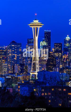 Seattle, WA - February 26, 2017: Seattle skyline with the Seattle Space Needle at sunset view from Kerry Park - Stock Photo