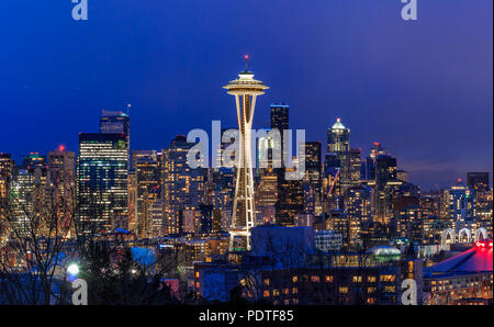 Seattle, WA - February 26, 2017: Seattle skyline panorama with the Seattle Space Needle at sunset view from Kerry Park in - Stock Photo