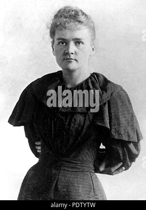 PARIS, FRANCE:  Picture dated probably 1895 shows student Marie Sklodowska shortly before her wedding with Pierre Curie. She was born in Warsaw 07 November 1867 and received her early scientific training from her father. She became involved in the students's revolutionary activities. Marie Curie and her husband, the French physicist, Pierre Curie, were the discoverers of radium and won the Nobel prize for physics in 1903. Pierre Curie was born in Paris 15 May 1859 and his most important contributions to physics was the discovery that the magnetic properties of substances change at certain temp - Stock Photo