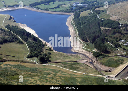 aerial view of a reservoir with low water levels near Manchester - Stock Photo