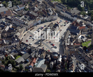 aerial view of Richmond town centre, market square & Castle, North Yorkshire, UK - Stock Photo