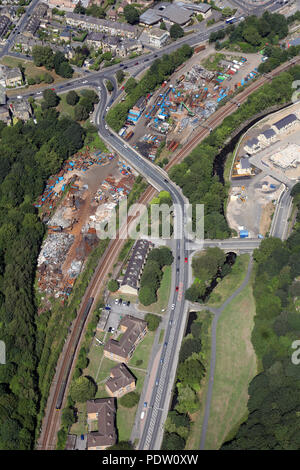 aerial view over the A6037 of  Crossley Evans Ltd scrapyard in Shipley, West Yorkshire - Stock Photo