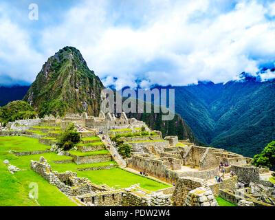 Panoramic Scenery of Machu Picchu Peru - Stock Photo