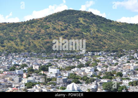 Port Louis city aerial view, Mauritius - Stock Photo