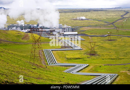 Pipes transferring steam at the Hellisheidi Power Plant  in the Hengill area of  South West Iceland near Reykjavik. It is the largest geothermal power - Stock Photo