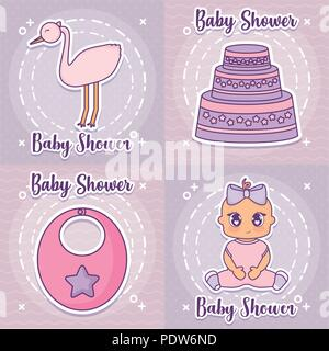 baby shower icon set design over colorful squares background, vector illustration - Stock Photo