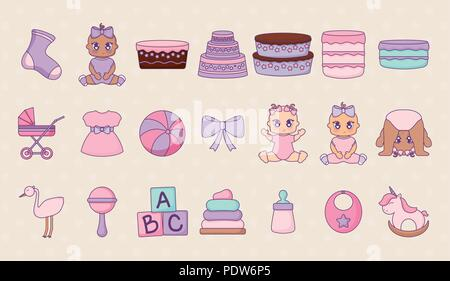 baby shower icon set design over yellow background, vector illustration - Stock Photo