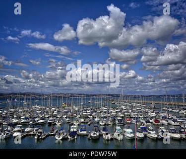 GB - DEVON: Brixham Marina with Torbay in Background - Stock Photo
