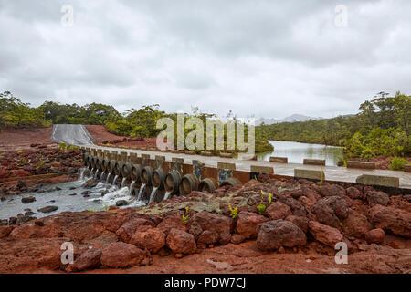 Bridge on Route de Prony in New Caledonia Grande Terre Pacific Island - Stock Photo
