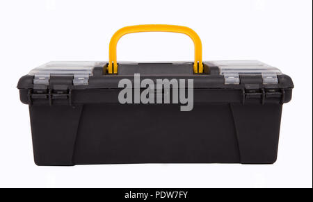 Plastic toolbox and tools on white background.  Toolbox isolated - Techie, tools - Stock Photo
