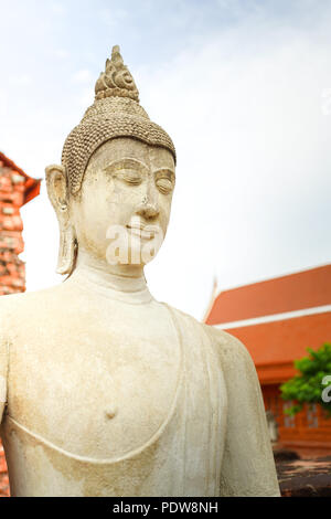 The Buddha image in Wat Yai Chai Mongkhon, Ayutthaya province, Thailand. - Stock Photo