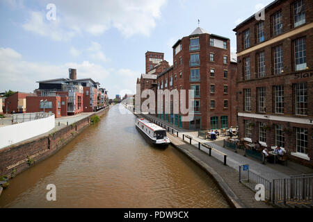 chester canal as the Shropshire union canal main line in chester passing redeveloped and repurposed old warehouses cheshire england uk - Stock Photo