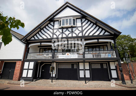 grosvenor rowing club building on the river dee in chester cheshire england uk - Stock Photo