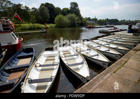boats for hire on the river dee in chester cheshire england uk - Stock Photo