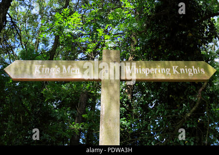 Signpost at the Kings Men Stone Circle, Rollright Stones, near Chipping Norton town, Oxfordshire, England. - Stock Photo