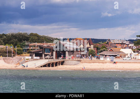 Exmouth RNLI lifeboat station, on the seafront beside the beach - Stock Photo