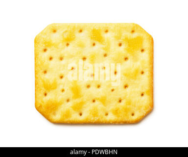 Top view of cheesy cracker isolated on white background - Stock Photo