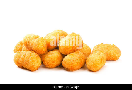 Fried crispy round chicken nuggets isolated on a white background - Stock Photo