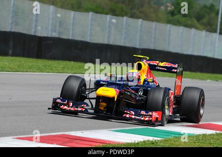 MUGELLO, ITALY May 2012: Mark Webber of Red Bull F1 Racing Team during training session at Mugello Circuit in Italy. - Stock Photo