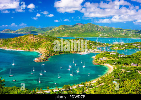 Shirley Heights, Antigua and Barbuda view from the overlook. - Stock Photo