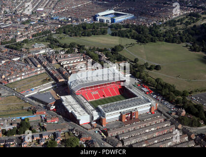 aerial view of Liverpool FC Anfield & Everton Goodison Park Stadia football grounds, England - Stock Photo