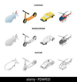 A dirigible, a children scooter, a taxi, a helicopter.Transport set collection icons in cartoon,outline,monochrome style vector symbol stock illustrat - Stock Photo