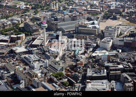 aerial view of Liverpool city centre including Radio City Tower and Lime Street Station - Stock Photo