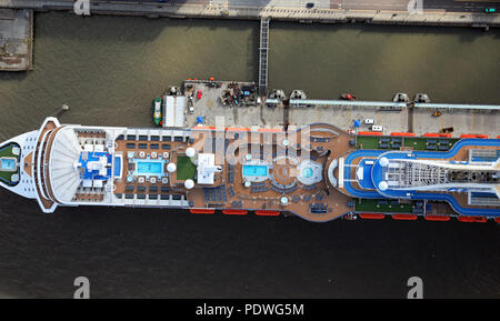 aerial view of the deck of the MS Royal Princess cruise liner at dock in Liverpool, UK - Stock Photo