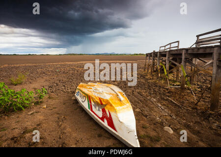 Drought in the protected wetland Cienaga de las Macanas in the Herrera province, Republic of Panama. - Stock Photo
