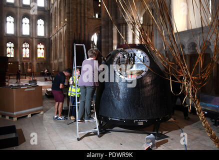 The Soyuz TMA-19M descent module, the spacecraft which brought astronaut Tim Peake back to Earth after his mission to the International Space Station, goes on display at Peterborough Cathedral. - Stock Photo