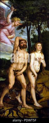 Expulsion from paradise 16th Century Michiel Coxcie 1498 - 1592 ( Fall of Man, Adam and Eve, Garden of Eden, Paradise ) Italy, Italian. - Stock Photo