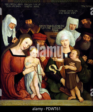 Holy Family by Bernhard Strigel (1460 - 1528, Memmingen) German, Germany ( Jesus and John the Baptist with their parents.  ) - Stock Photo