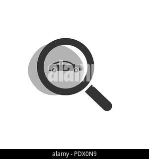Magnifying glass looking for a car isolated web icon. Vector illustration - Stock Photo
