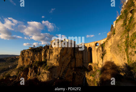 Beautiful scenery of Puente Nueve in Ronda Spain during sunset - Stock Photo